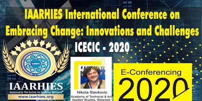 Наш наставник на online конференцији, у организацији међународне академске асоцијације, IAARHIES, Индија